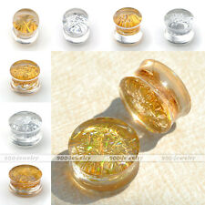 Pair 6-20MM Glitter Double Flared Ear Plugs Tunnels Stretcher Expander Kit Gauge