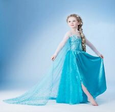 Blue Girl Kids Frozen Princess Queen Elsa Party Cosplay Costume Fancy Dress Long