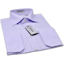 Lilac tone on dress Shirt by Berlioni  stripes same tone french convertible