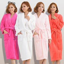 New Women Lady Loose Long Sleepwear Comfortable Robes Coral Fleece Spa Bathrobe
