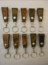 Leather Belt Fob Key Chain, Handcrafted, Many Designs, Firefighter Marine Mason