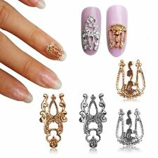 10pcs DIY Alloy Gold Silver Retro Hollow Out Nail Art Stickers Slices Decoration
