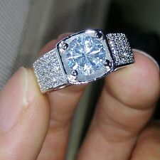 Cool Solitaire Style Men White Topaz Diamonique 925 Silver Wedding Ring Sz 7-13