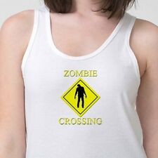 Zombie Crossing Road Sign Funny T-shirt Walking Dead Women's Tank Top