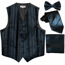New Men's stripes Tuxedo Vest Waistcoat & necktie & Bow tie & Hankie Navy blue