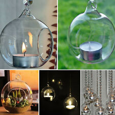 Crystal Glass Hanging Candle Holder Candlestick Romantic Wedding Home Decor 1pc