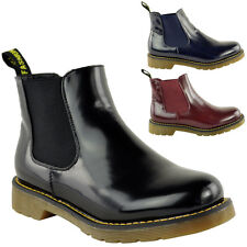 LADIES WOMENS FLAT LOW HEEL PULL ON STRETCH RIDING CHELSEA ANKLE BOOTS SHOES DOC