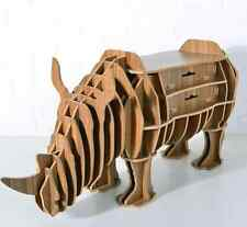 WOODEN RHINO RHINOCEROS COFFE SIDE TABLE SHELF BOOKSHELF LIVING ROOM DIY ANIMAL