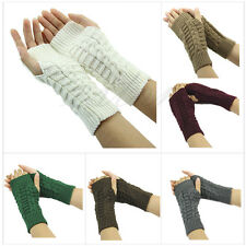 Ladies Winter Unisex Arm Warmer Elbow Long Crochet Fingerless Mitten Knit Gloves