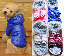 Puppy Pet Dog Thicken Winter Warm Hooded Padded Coat Clothes Clothing Apparel