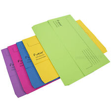 5 x Colour Foolscap Document Wallets 300gsm Thick Card Files A4 Paper Folders
