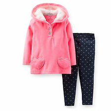 New Carter's 2 Piece Hooded Fleece Pink Tunic Top & Leggings Set NWT 2T 3T 4T