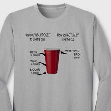 RED SOLO CUP How To Use T-shirt Funny College Party Drinking Long Sleeve Tee