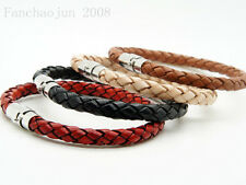 1Pcs Unisex Men's Genuine Braided Leather Steel Magnetic Clasp Bracelet