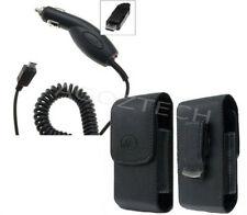 Car Charger + Vertical Leather Swivel Belt Clip Case Pouch for LG Cell Phones