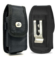 Black Vertical Rugged Heavy Duty Canvas Belt Clip Case Pouch for LG Cell Phones