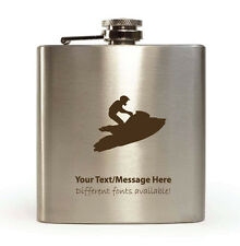 6oz Hip Flask with Gift Box - Personalised With Your Name (Jet Ski Design)