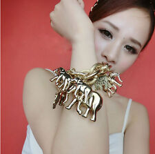 2014 New Korea Style Gold Silver Plated Link Chain Multi Smoth Elephant Bracelet