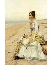 "JOHN GEORGE BROWN ""Longing for William"" sad WOMAN alone beach sea CANVAS PRINT"