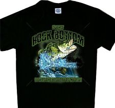 Rock Bottom Bass Fishing Tee Black T'shirt  Fish Shirt