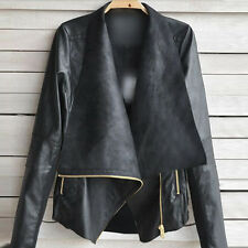 Fashion Vintage Womens Slim Biker Motorcycle PU/Faux Leather Zipper Jacket Coat