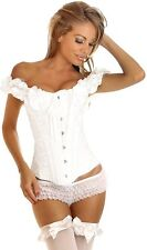 Womens Steel Boned Court Corset Body Shape Ladies Overbust Bustier with Gstring