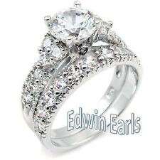 4.15 CT ROUND CUT CZ .925 STERLING SILVER WEDDING RING SET WOMEN'S SIZE 5-11