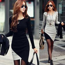 New Sexy Women Crew Neck Long Sleeve Slim Bodycon Knit Sweater Party Mini Dress