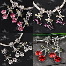 5x Crystal Cherry Big Hole European Spacer Loose Beads Fit Charms Bracelet DIY