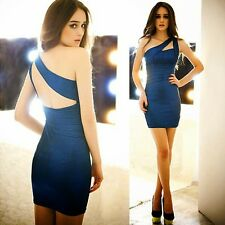 Sparkle One Shoulder Ruched Cut-out Women's Cocktail Party Mini Dress Clubwear