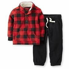 New Carter's 2 Piece Fleece Set Red & Black Plaid Top & Pants NWT 18m 24m 3T 4T