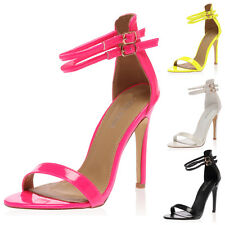 WOMENS OPEN TOE STRAPPY LADIES PLATFORM ANKLE STRAPED HEELS SANDALS SIZE 3-8