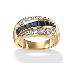 Palm Beach Jewelry Men's Sapphire and Cubic Zirconia Ring