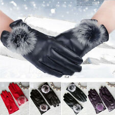 New Rabbit Fur Leather Lady Mittens Women Winter Wrist Motorcycle Gloves