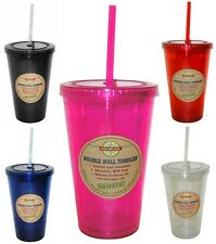 New 16 oz. Acrylic Tumbler Cup with Matching Lid & Straw -Free Priority Shipping