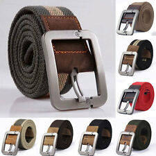Unisex Webbing Military Mens Canvas Leather Pin Buckle Waist Belt Outdoors Belts