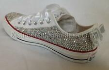 White Low Sequin Bow Sparkled Rhinestone Crystal Converse Wedding Prom Romany