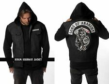 AUTHENTIC SONS OF ANARCHY BLACK DENIM HIGHWAY REAPER PATCH LINED JACKET S-4XL