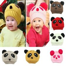 Hot Winter Warm Baby Toddler Kid Panda Cute Hat Wool Knitted Crochet Beanie Cap