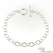 Sterling Silver Link Charm Bracelet with Toggle Clasp