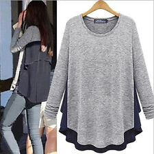 NEW fashion Women's Long Sleeve O-Neck Loose Blouse Lady Casual Top Shirt