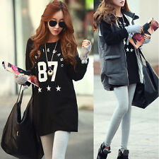 Korean Women Digital 87 Casual Long Sleeve Cotton T-shirt Loose Blouse Tops