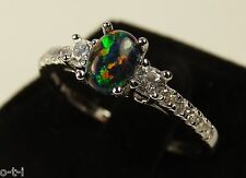 Black Fire Opal Oval Cut White Sapphire CZ Genuine Sterling Silver Ring