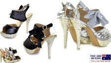 Womens High Heels Black Silver Gold Sequin PeepToe Elegant Wedding Formal Shoes