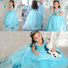 Girls Kids Dresses Disney Elsa Frozen dress costume Princess Anna party dresses