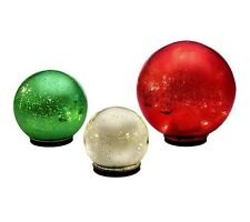 3 In/Outdoor Hanging Mercury Glass Spheres/Globes W/timer by Valerie QVC CHOICE