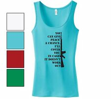 You Can Give Peace A Chance Funny Ladies Gun Tank Top Gun Rights Hunter Gift
