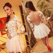 Women Mesh Dress Lace Sexy Summer Minidress Organza White A-Line Solid Party