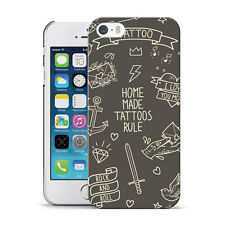 DYEFOR GREY SKETCH OLD SCHOOL TATTOO PRINT HARD CASE COVER FOR APPLE iPHONE 5 5S