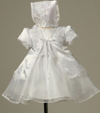 Baby Girls Stunning Floral Accented Organza Christening Gown Bonnet Baptism Prom
